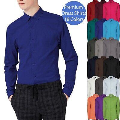 Mens DRESS SHIRTS Button Down Stretch Point Collar Slim Fit Premium Stylish