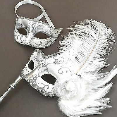 White Silver Masquerade & Venetian Feather Stick Prom Costume Party Masks