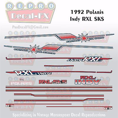 1992 Polaris RXL SKS Indy Fuel Injection EFI Repro 20Pc Vinyl Decals Snowmobile