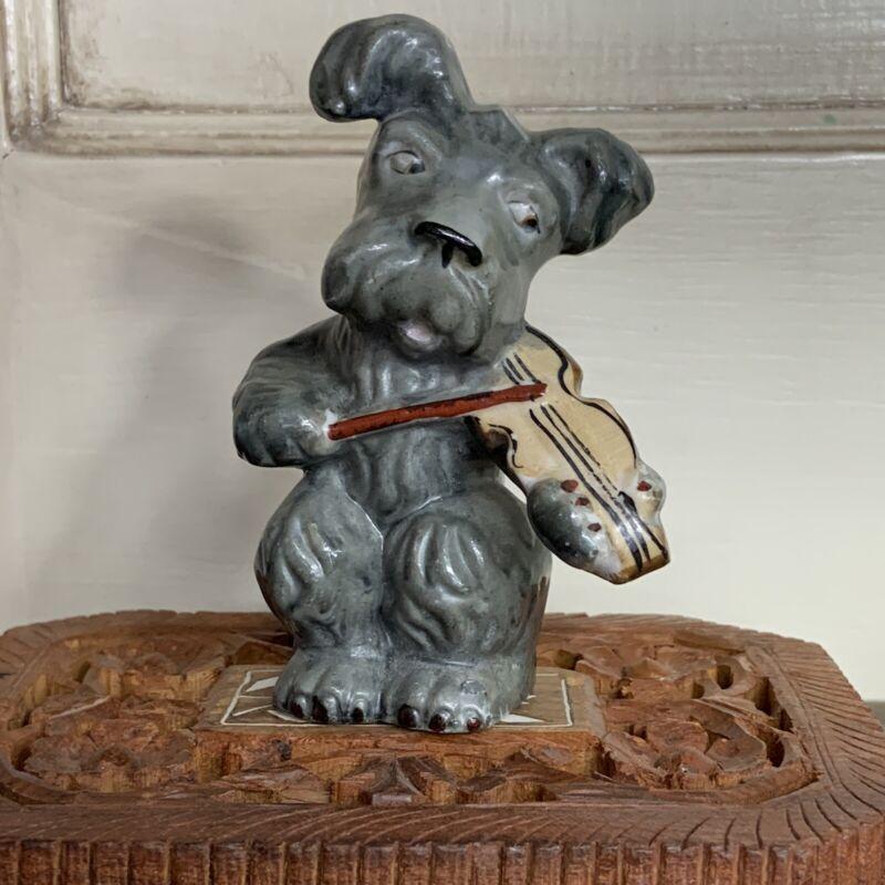 Vintage Terrier Dog Playing Violin