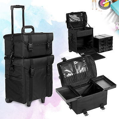 2 in 1 Makeup Case Beauty Trolley Cosmetic Vanity Box Rolling Hairdressing Bag
