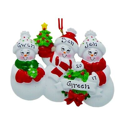 NAME PERSONALIZED Cozy Snow Family of 3 Christmas Ornament 2019 Holiday Gift ()