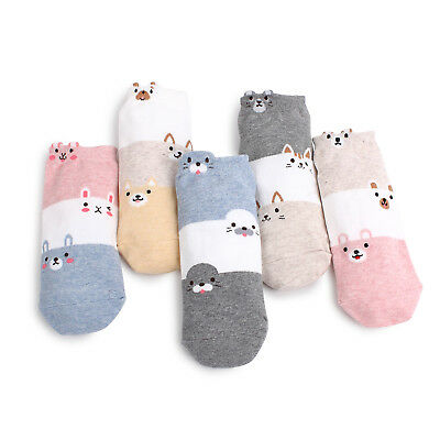 (5Pairs) Women 3 Block Animal Socks Girls Adorable Cute Cartoon Lego Fashion AO