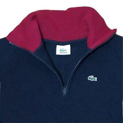 Lacoste Women's Pullover 1/4 Zip Sweater Blue Size 40 Large Long Sleeve Wool