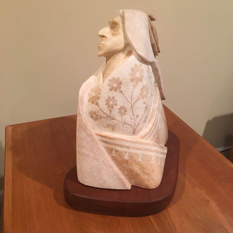 Victor Vigil Native American Indian Alabaster Art Sculpture
