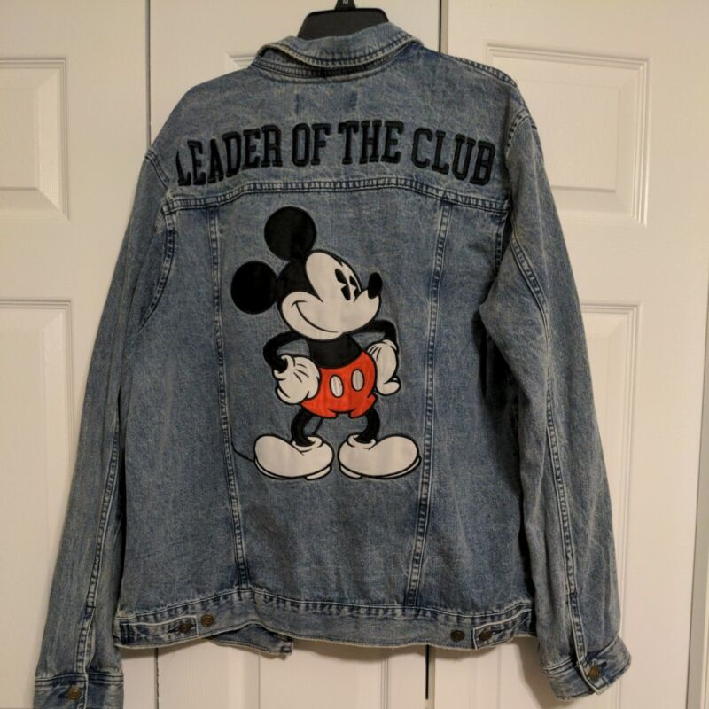 Mickey Mouse Leader of the Club Denim Unisex Jacket Size Large Adult