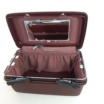 Vintage Samsonite Hard Shell Vanity Beauty Train Case Burgundy + 2 Keys