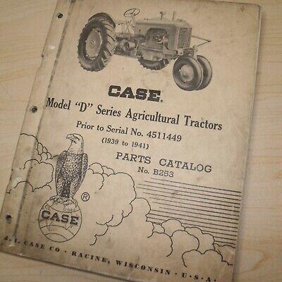Case D Series Agricultural Tractor Parts Manual Book Catalog List Farm 1939-1941