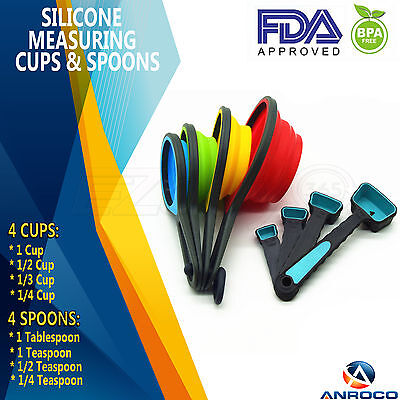 Silicone Collapsible Measuring Cups & Measuring Spoons 8-Piece Set, 8 Sizes Collapsible Measuring Cup Set