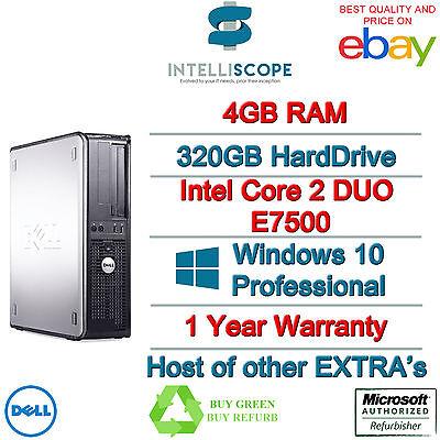 WINDOWS 10 DELL OPTIPLEX COMPUTER DESKTOP TOWER PC INTEL 4GB RAM 320GB HDD WIFI
