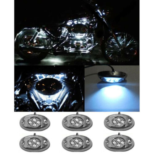 6Pc White LED Chrome Modules Motorcycle Chopper Frame Neon Glow Lights Pods Kit