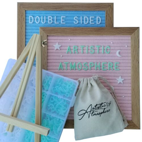 LIQUIDATION DEAL! Double sided Pink/Blue Felt Letter Board Deluxe Kit With Stand