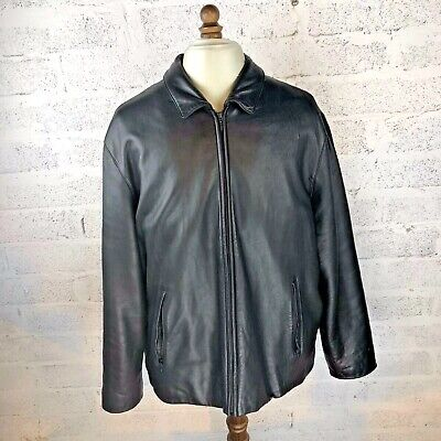 Brooks Brothers Black Leather Jacket XXL RRP £1000 50R - Used, Great Condition !