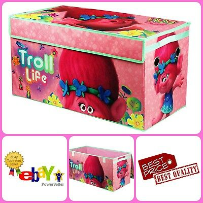 Girls Soft Canvas Trolls Collapsible Storage Trunk Chests Toy Box Bedroom Decor - Girls Trunk