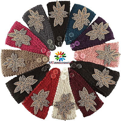 New Women Girls Winter Flower Crochet Knit Headwrap Headband Ear Warmer - Flower Crochet Headband