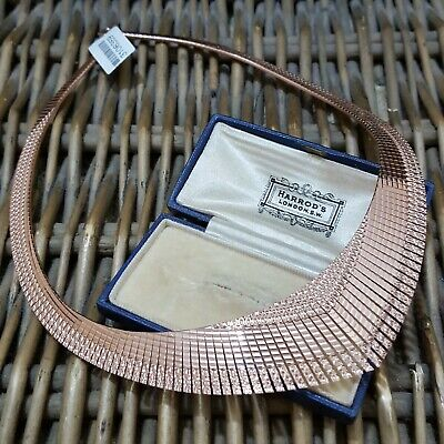 STERLING SILVER CLEOPATRA COLLAR NECKLACE, ROSE GOLD PLATED, FULLY HALLMARKED