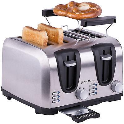 1 bis 4 Scheiben Toaster Edelstahl, Toastautomat, Brötchenaufsatz, Krümelfach