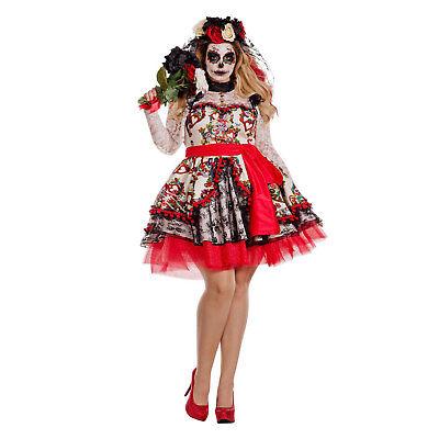 Women's PLUS Day Of The Dead Costume Sugar Skull Dress Muertos 1X 2X 3X 4X 5X - Women Day Of The Dead Costume