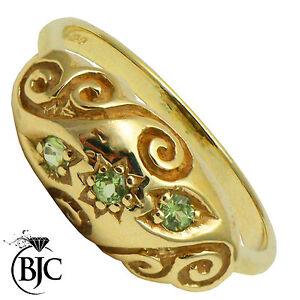 BJC-9kt-oro-giallo-e-peridoto-0-15ct-Gitano-taglia-M-anello-di-fidanzamento-R149