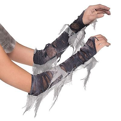 Adults Arm Warmers Zombie Mummy Costume Gloves Grey Torn Ghost Bride Fancy Dress](Mummy Bride Costume)