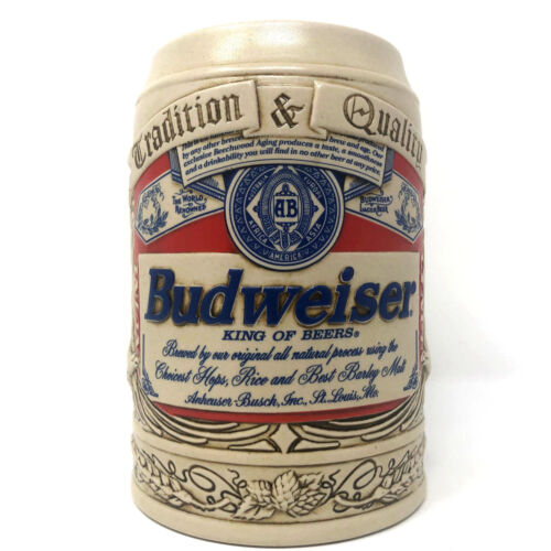 Anheuser Busch Budweiser Label Collectors Beer Mug Stein 1995