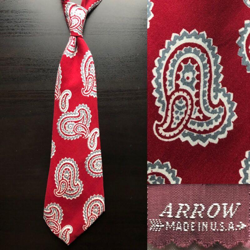 "Arrow ""Bandanna"" Red Paisley Tie EUC VTG Art Deco Swing 1930s 1940s Rockabilly"
