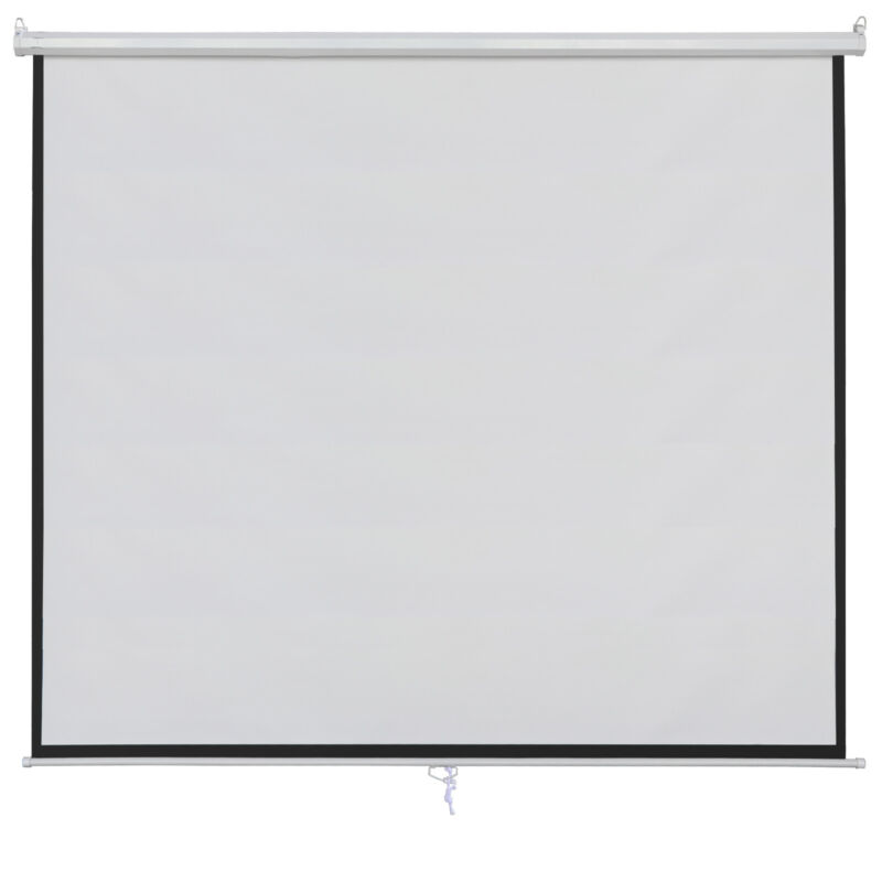 100 Inch 16:9 Manual Pull Down Projector Projection Screen for Watching Movie