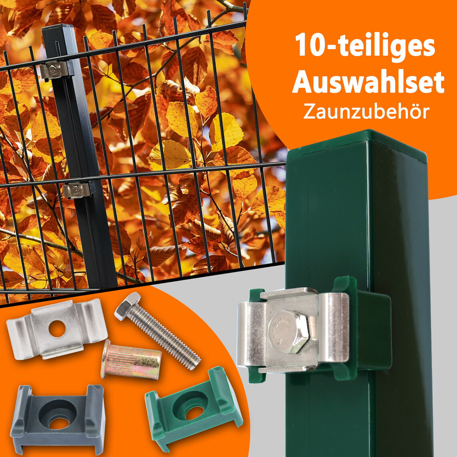 Doppelstabmattenzaun Pfosten Befestigung Spanndraht Maschendraht Zaun Halter 50x