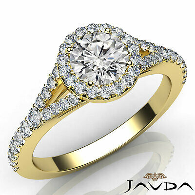 French Pave Set Halo Round Diamond Engagement Split Shank Ring GIA I VS2 1.21Ct