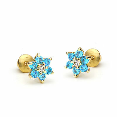 14k Gold Plated December Flower Children Screw Back Baby Girls Earrings