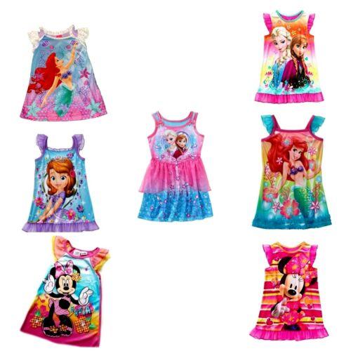 Girls Nightgown  Disney Minnie Mouse Elsa Anna Frozen Sofia Ariel Princess  NWT