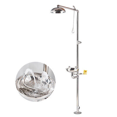 Stainless Steel Emergency Eyewash Shower Station Eye/Face Wash Washer Station