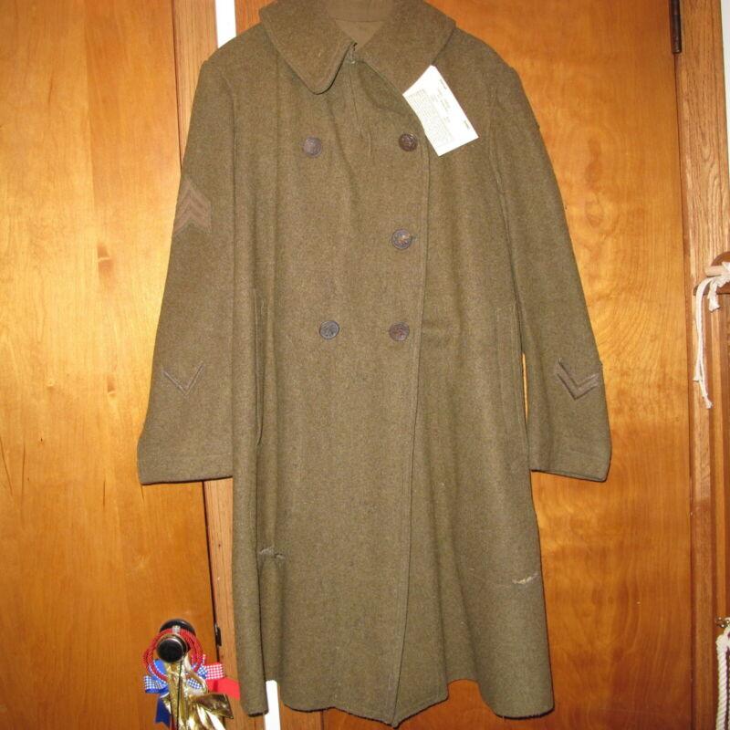 WW1 US Army Wool Double Breasted Brown Overcoat model 1917 Heavy Sergeant Rank