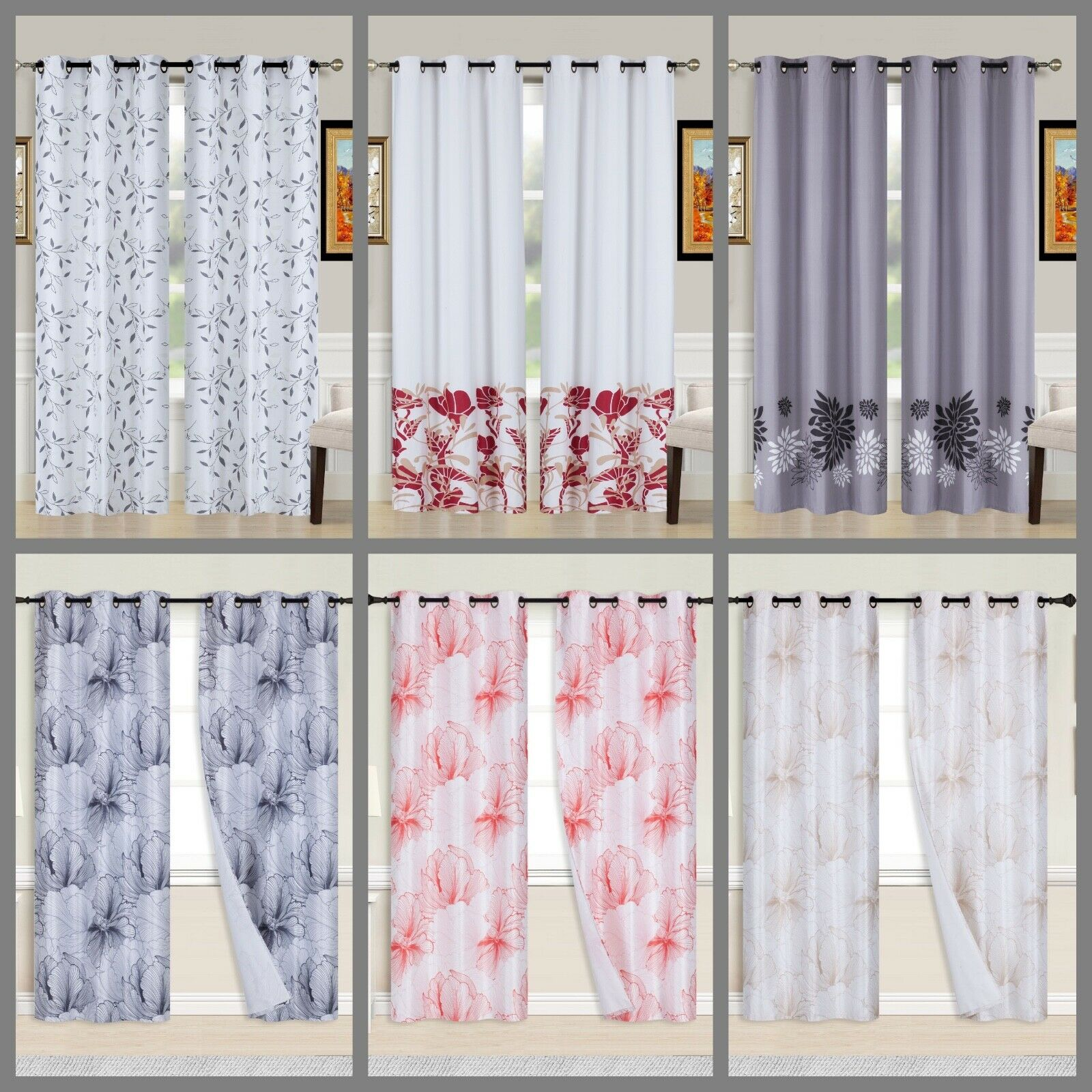 2PC Printed Blackout Window Curtains Bedroom Living Room Whi