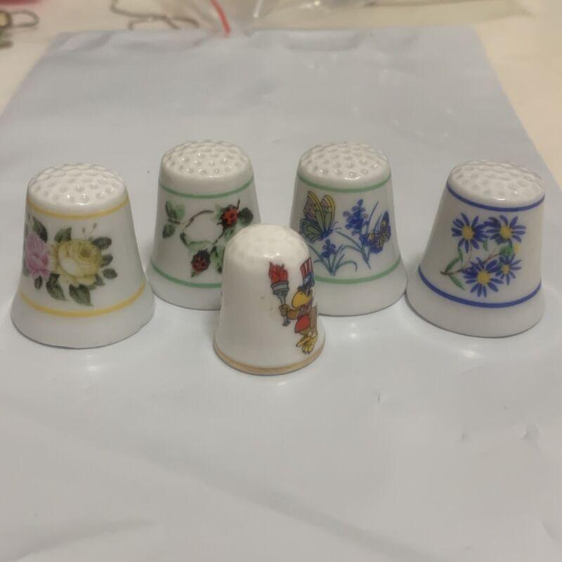 Lot of 5 Floral Flower Porcelain Thimbles