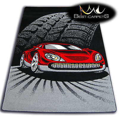 THICK RUGS 'HAPPY' CARPETS FOR KIDS CAR RACE BLACK GREY CHILDREN CHEAP