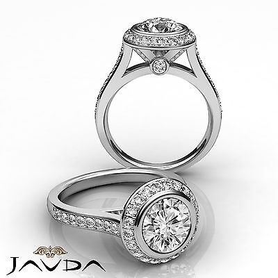 Bridge Accent Halo Pave Setting Round Diamond Engagement Ring GIA G VS2 1.8 Ct