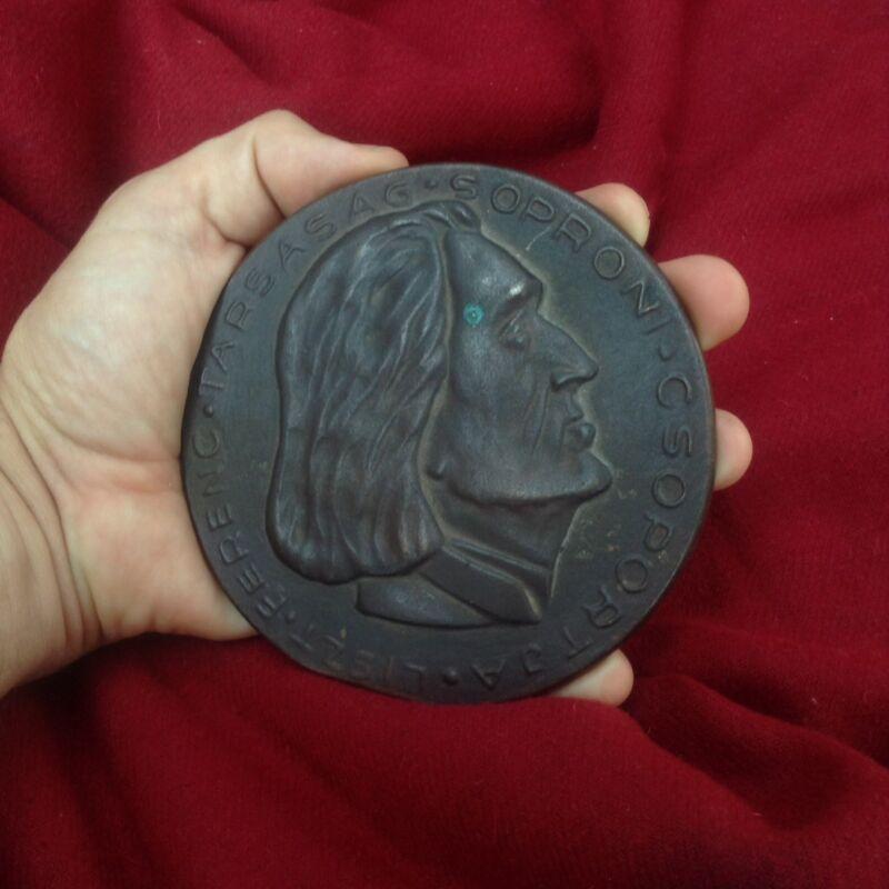 Antique Piano Composer Liszt Hungary Bronze Portrait Medal Plaque Sopron Austria