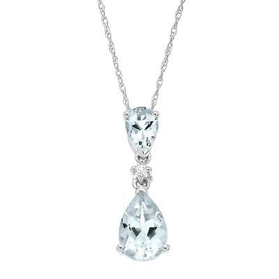 1 1/2 ct Natural Aquamarine Drop Pendant with Diamond in 14K White Gold