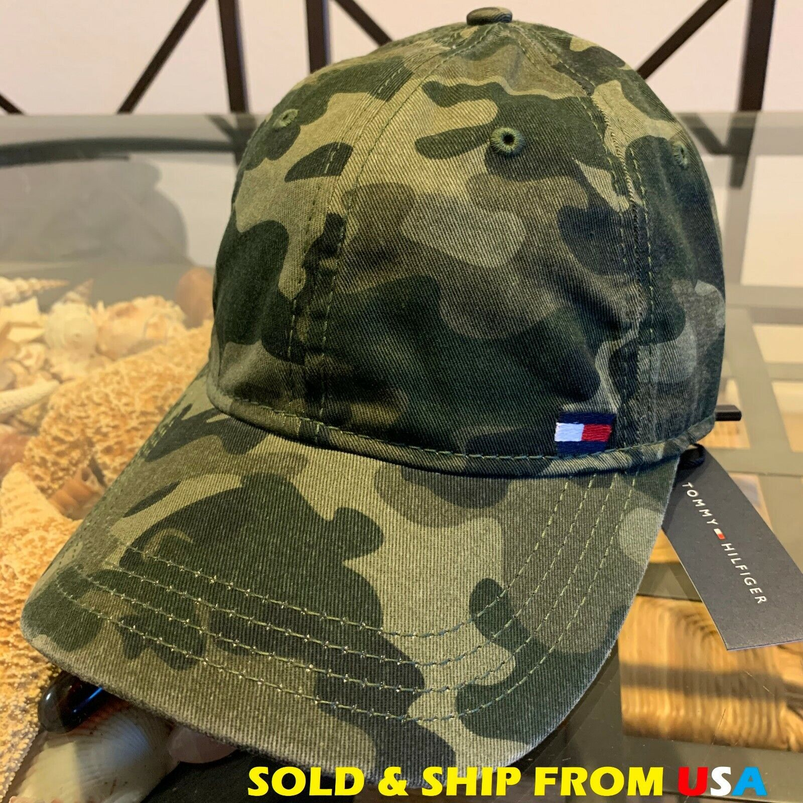 TH TOMMY HILFIGER MENS GREEN CAMO STRAPBACK FLAG LOGO BASEBA