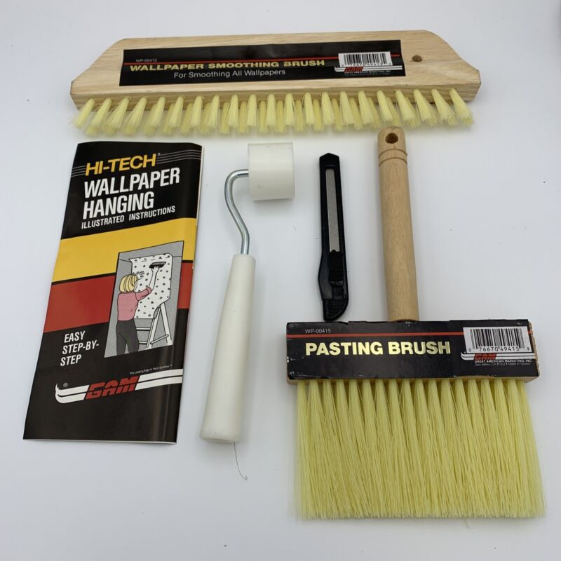 4 Piece Wallpaper Installation Tool Kit Smoother Paste Brush Roller Razor