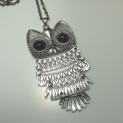 60s -70s Jewelry – Necklaces, Earrings, Rings, Bracelets Owl Pendant Necklace Silver Color Mid Century 1960s 1970s Owl Jewelry $41.10 AT vintagedancer.com