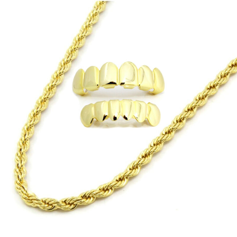 """Mens 14K Gold Plated 4mm 20"""" Rope Necklace Chain W/ Set Of Grillz Top & Bottom"""