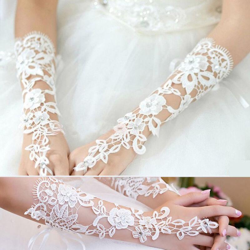 Sexy Charm White Bridal Lace Flower Rhinestones Fingerless Gloves Wedding Party