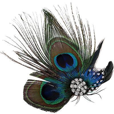 Cute Peacock Feather Bridal Wedding Hair Clip Headpiece Hair Accessory