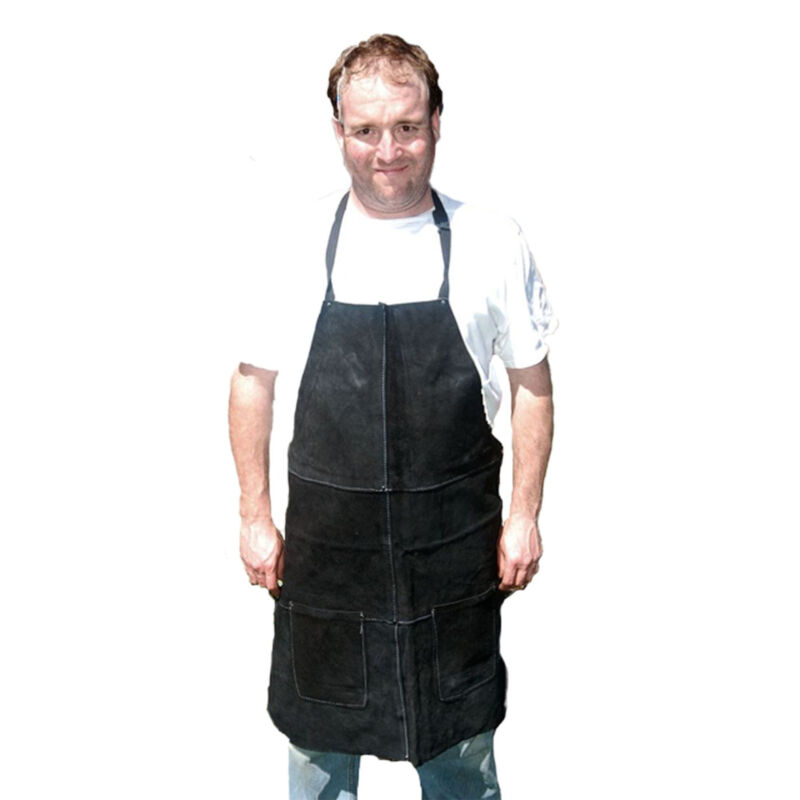HAWK AL001A-BLK - Genuine Black Leather Shop Apron Wood Work Welding NEW [J1-1]