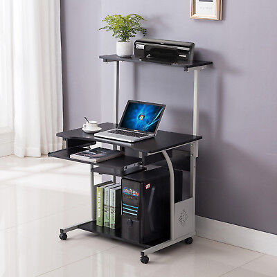 Computer Desk Rolling Shelf Stand Table Laptop Wprinter Home Office Furniture