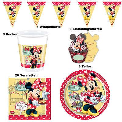 Set Minnie Maus Tisch Deko Party Kinder Geburtstag 1. Minni Micky Mouse Pluto ()