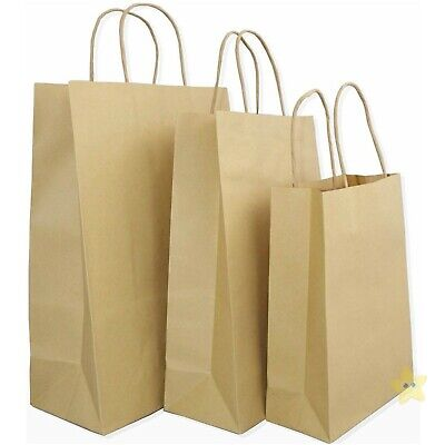 50 x Brown Twisted Handle (180mm) Party Paper Gift SMALL Carrier Bags