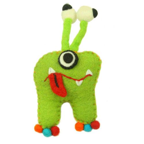 Green Monster Handmade Felt Tooth Fairy Pillow